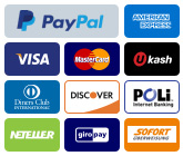 We accept Paypal, Credit Cards - Visa, Mastercard, American Express (Amex) and Discover and Google Checkout.